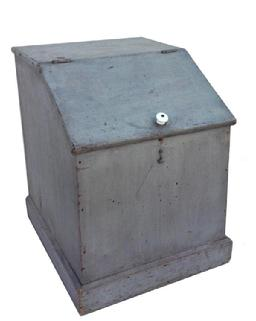 "Z360 19th century Storage Bin from New York State with the original  gray paint, the wood is pine, nail construction, higned lid, one board back, all original circa 1870 18 1/2"" wide x 23"" deep x 25"" tall"