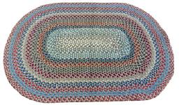 "X504 19th century hand made braided Rug, with wonderful colorsof blue, red, white good condition 42 1/2"" x 61 1/2"""