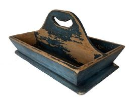 T346 Pennsylvania original blue painted Cutlery Tray , with a nice high handle, the inside of the tray is showing wear from use, flared sided, circa 1850