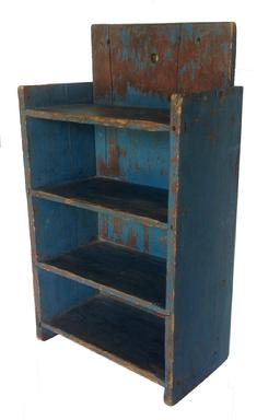 "A349 19th   Wall Shelf, with early blue over the original red, the wood is pine, solid ends with mortised shelves, rose heads and tee nails construction circa 1890- 1910 Measurements are: 8 1/2"" deep x 15"" wide x 27"" tall"