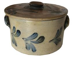 "A419 Cobalt-Decorated Stoneware Butter Crock with Lid, attributed to the Remmey Pottery, Philadelphia, PA, circa 1865, Incised Bands and applied  Ear Handles.  decorated on the front and back with brushed cobalt flowers. 6""high  x 9"" diameter  with lid."