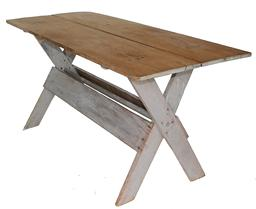 B125 19th century Pennslyvania two board top Saw Buck Table with  oyster  grey paint, square nail construction.