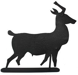 B18 Sheet metal standing stag weathervane Myerstown Pennsylvania , Early 20th  century The silhouetted form with weathered surface, mounted on iron stand.