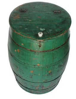 "B275 Late 19th century  painted Barrell  Stave-constructed barrel with metal bands and a hinged lid. Old green paint, this barrel was probable used for flour it is clean on the inside, very well made, tight and sturdy Measurements are:19"" diameter x 27 1/2"""