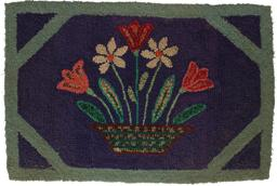 B457 Hook Rug of basket of flowers, Pennslyvania , great colors in good condition, worked on early burlap small size