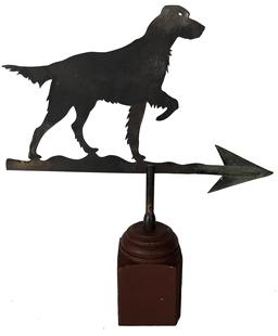 "E71 Maryland  cut-out sheet iron folk art  hunting dog weathervane, circa 1930.  Found on Eastern Shore Maryland Measurement art 17 1/2"" long x 14"" tall"