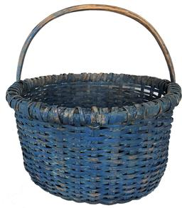 "E601 Late 19th century Gathering Basket with beautiful dry blue paint, single wrapped rim with a reinforced bottom, notched steamed and bent handle .  Measurements 14"" diameter x 14 1/2"" tall"