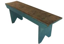 "E269 19th century Pennslyvania double mortised Bench, with wonderful blue paint, cut out ends, appled back braces, very sturdy Measurements are:  47 1/4"" long x 11 1/2"" deep x 17"" tall"