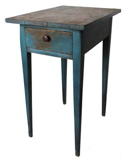 "C158 Early 19th century country Pennsylvania work table, with a single dovetailed drawers,with a scratched bead around drawers, all white pine wood, with tiger maple legs, mortised and peg construction,  in the original blue paint.  Measurements are: 17"" wide x 23"" deep x 31"" tall"