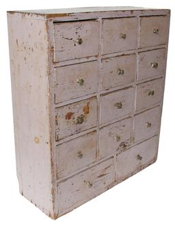 "C18 New England  19th century  small Apothecary with the original paint, with  fourteen dovetailed ,and  gradulated drawers.All original knobs , 20"" wide x 22"" tall x 8"" deep"