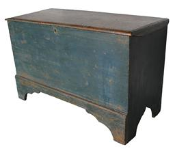 "C20Early 19th  century New England Blanket chest with the original blue paint, nice high cut out foot. applied molding around the lid.Measurements are 26 3/4"" high x 42"" wide"