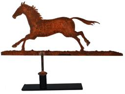 C24 Late 19th Century AMERICAN FOLK ART CUT-OUT SHEET-IRON Horse WEATHERVANE, depicting a running Horse, with the original pumpkin paint.