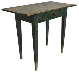 C25 19th century Shenandoah Valley Virginia, Hepplewhite side Table, old Windsor green over the original apple green, circa 1840 painted surface