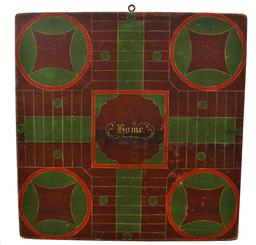 "C331 19th century two sided  Parcheesi Board/ Game Board  original paint decorated four -color early American Parcheesi game board! The red ground with green and bittersweet red   paint gives this late 19th century folk art game board a beautiful look . The original painted surface shows perfect usage wear, painted on a single board the Checker Board is black squares on a red ground  with red pin strips with a black zizzaz edge  Measurements are;18"" x 1"