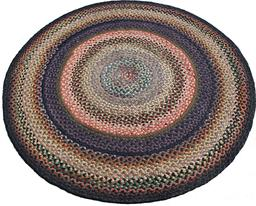 "C459 Early 20th century hand made braided rug, from PA. red,blue and green great condition 62"" in diameter"