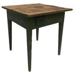"C68 19th century Georgia side table, with the original green paint, very unusual small side drawers two board top held in place with square head nails 26"" deep x 26 1/4"" wide x 27"" tall"