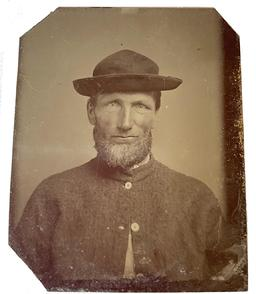 "ORIGINAL Civil War TINTYPE PHOTOGRAPH Confederate Enlisted Man from South Carolina Subject wears typical sack coat which bear either bone or wood buttons. Adorns a ""Beehive"" or ""Beegum"" hat, which were both very popular with Confederate enlisted men. This image came from a group of military images mostly related to South Carolina."