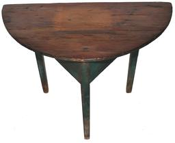 "D105 Early 19th century Demilune Table circa 1810 with the originared paint, a half round top resting on tapering hepplewhite legs Measurements are 36 x 18 1/2"" 27"""