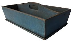 "D181  Mid 19th century Pennslyvania blue -Painted Tool Carrier,  nail construction,with canted sides, and center divider with hand-hold measurments are 24 3/4"" long x  15 1/2"" wide x  9"" tall"
