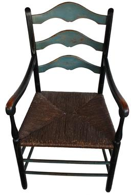 "D25 Mid 19th century Pennslyvania Ladder back arm Chair with original rush seat with blue and black paint with mustard pin stripes, great wear to the paint circa 1850 Measurements are: 22"" wide x 17"" deep x 39"" tall"