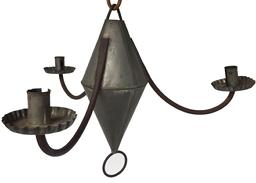 "D307 Three arm Tin Chandlier 19th century New England,Hanging tin Chandelier, with three  curved arm extensions and three tin  crimped candle bobeches that are form,  three single deep welled wide candle sockets, hook for hanging beautiful old patina surface all original  18 1/2"" diameter x 13 1/2"" tall"