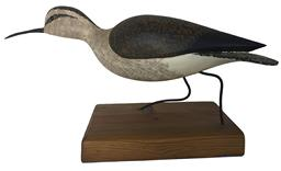 "D337  Curlew wooden hand carved by  Rob Daily with metal legs and glass eyes  17 1/2"" long x 8"" tall x 6"" wide"