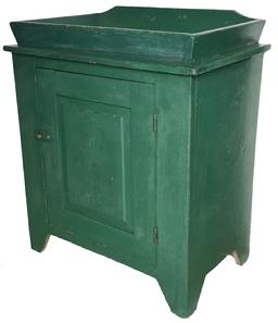 "D355  19th century Pennslyvania open Well Drysink , very unusual with a removeable canted  well, old windsor green paint,over the original red, wth a single raised panel door. nice high cut out foot Measurements are: 18 1/4"" deep  X 30"" wide  34"" tall"