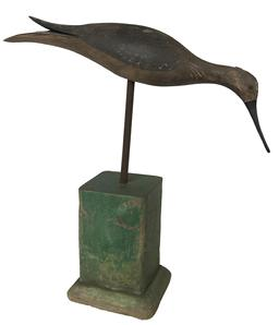 Folk Art Shore Bird Decoy Carved & Painted Split Tail Plover with original Paint The wings and back are very nicely carved. Mounted green base.The decoy measures approximately 11 1/2 � long by 12� high to top of head by 2 1/2� across.