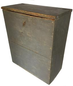 "D386 18th century New England  Kindling Box / Wood Box with the original pewter gray paint, rose head nail construction circa 1780 -1790 , all original measurements are 25"" wide x 29 1/2"" tall x 2"" deep"
