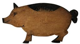 "D420 Folk Art Pig cutting board, decorated with black paint,  15 1/2"" wide x 8"" tall"