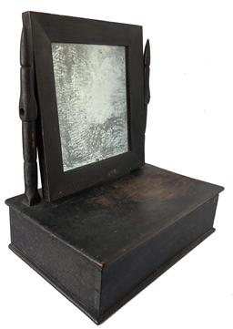 D468 Richmond Virginia c.1860 Wooden Shaving Mirror retaining its original black surface. This dresser top Vanity   Has the original looking glass mirror over a dovetailed storage box. Square head nailed construction measurements 15 1/2� wide 17 1/4� tall  10�deep
