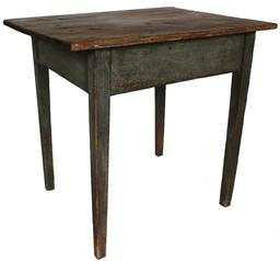 "D49 Early 19th century , Virginia Chesterfield County two board top hepplewhite  multi purpossce Table, in the original green painted surface, the top is held in place with tee nails and  peg construction  pit sawed boards, naturial surface never clean. Circa 1800- 1810  measurements are:30 1/4"" long x 23 1/4"" deep x 28"" tall"