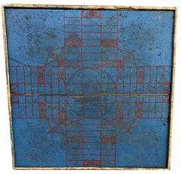 Parcheesi  Game Board, original blue and red paint,  applied moldings unknown maker, American Circa 1880 the back side has two dovetailed tapered batons  measurements 23� x 23 1/2� x 1  1/4� thick