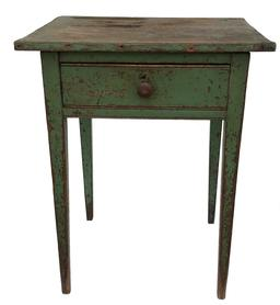 E142 19th century  Lancaster County Hepplewhite one drawers Stand with graefully  tapered legs and a dovetailed  drawer with a beaded edge, old medium green paint over red.one board top  from the Estate of   Clark Hess, Measurements are  24 1/2�Long  x 20�Deep