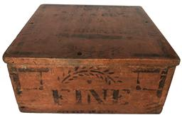 "E236 AMERICAN PAINTED AND STENCILED ""FINE"" BOX, nailed construction with hinged lid, stenciled ""FINE"". Retains an old Salmon  and black-painted surface. 19th century. 6 1/4"" H, 13 3/4"" x 14 1/4"" top."