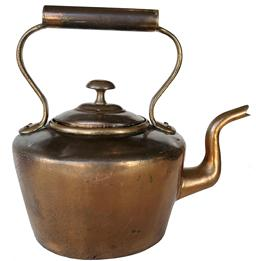 E29  Early to mid 18th century  American hand made copper teapot or kettle with dovetailed bottom , goose neck spout and hand welded bottom c1760.. Measures 12 inches to the top of its handle,13 inches from spout to back and 8.5 inches across its sides.