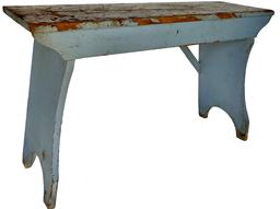 "E308 Late 19th century Wash Bench, original blue paint with splayed legs, high shaped ends, two notched and dovetaile locking supports on back size Measurements are: 3' long x 11 1/2"" deep  x 22"" tall"
