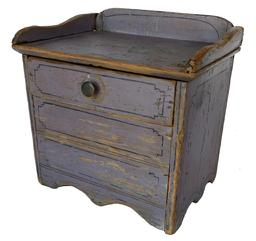 F132 Late 19th century miniature wash stand, retaining it original paint decorated color, with a single drawer and applied gallery. It is all original