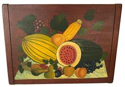 "F166  Early 20th century still life painting of fruit on bread board - from the collection of Barry Nelson Alexandria Va. .   Measurements:  22 1/8"" wide x 16"" tall x 3/4"" thick"