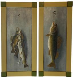 F189 Early 20th century New Jersey paintings on Canvas of Fish beautiful painted and mounted in newer frames signed by the Artist, George Greene Painter � Poet, George Greene was successful as both a painter and a poet. He was Born 05/06/1908, Boston, Massachusetts - Died 01/26/1995, Lambertville, New Jersey,