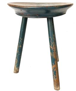 "F521 18th century milking stool, Dating from around the late 18th century to early 19th century, it has its original blue paint and is beautiful design with a shaped lip around the seat edge and scooped out seat  Measurements are 15"" tall x 11"" diameter"