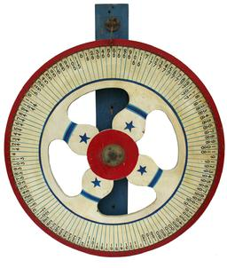 "C490 Early 20th Century wooden painted carnival game wheel of chancel.A fabulous piece of antique Americana, A wonderfully decorative wheel  The  red, white and blue  paint are still vibrant, with painted blue  stars on a white back ground . measurements are  30-""diameter ."