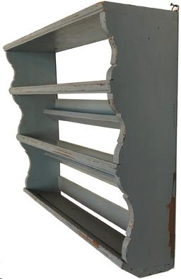 "RM1075  Mid 19th century, New England. Plate Rack , with dovetailed case with three graduated shelves with molded edges, alternating with rectangular molded plate guards joined by scalloped sides. in old blue  painted surfaces. SIZE: 28' h x 31 3/4 w x 10"" deep top"