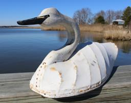 "B52 Canvas over wire construction, with carved neck and head, white Swan from North Carolina , original paint shows little wear, there is a slight crack in the neck otherwise in very good condition,W.C. carved in the bottom. This type of Swan was  popular around the Eastern shore of Virginia and the Carolinas near the turn of the 20th century. 29: long x 13"" tall"