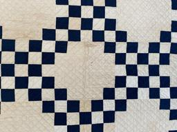 MY1 Stunning Double Irish Chain pattern quilt, all hand quilted with cross hatch quilting and hand sewn binding. The use of indigo blue and white for this geometrical pattern, along with the simplistic pattern of the hand quilting, is indicative of the 1860-1880 time period this quilt
