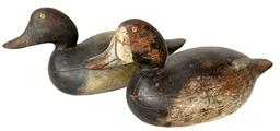 Excellent and all original hollow carved, premier grade bluebills from the Mason Decoy Company (Detroit, MI) ca. 1910. Small body model measuring 15 1/2� long