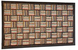 "MZ7 American hand hooked   in pristine condition Mounted striped hand-hooked rug multiple color bold, graphic geometric with vivid colors in ""Log Cabin"" inspired design."