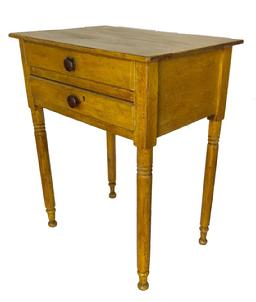 "E340 Early 19th century two drawer Sheraton  stand with beautiful old yellow paint, nail construction, with a simple turned foot circa 1800 measurements are 23"" wide x 16"" deep x 28"" tall"