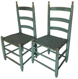 Z486  matching pair Virginia  Early 19th Century Ladder Back Chairs circa 1840  with very gracefully turned Finial, original seats, wonderful original green paint