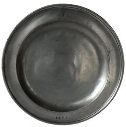 "E93 Late 17th century  Pewter Charger made by  William Howard - London  circa 1672-1693  Measurements are: 15"" diameter"